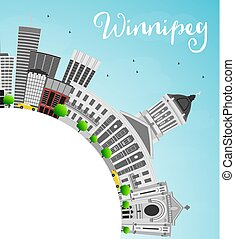 Winnipeg Skyline with Gray Buildings and Copy Space.