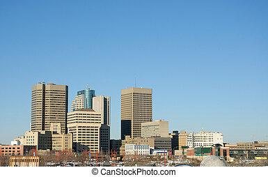 Winnipeg Skyline with Room for Text - Downtown Winnipeg...