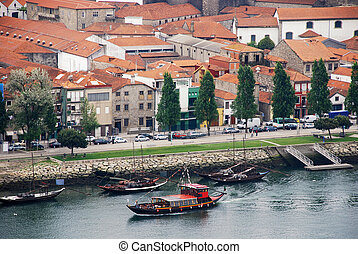 wino, łódki, na, rzeka, douro, (porto