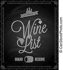 wino, -, menu, ułożyć, chalkboard