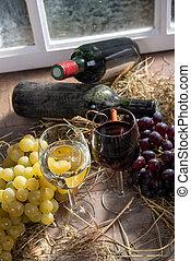 wino, tło, biały, okulary, winogrono, czerwony, butelki