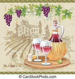 winogrona, angielki, butelka