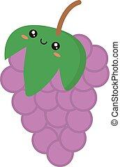 winogrona, biały, tło., wektor, ilustracja