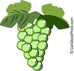 winogrona, ilustracja, biały, wektor, tło.