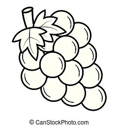 winogrona, wektor, czarnoskóry, ilustracja, white., grono