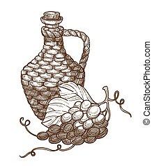 winogrona, wino, przemysł, rys, odizolowany, dzbanek,...