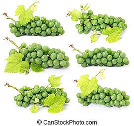 winogrono, owoce, liście, odizolowany, komplet, zielony