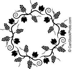 winogrono, próbka, winorośl, ozdoba, wektor, czarnoskóry, biały