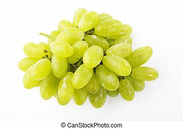 winogrono, słodki, zielone tło, biały, grono