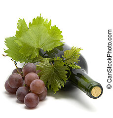 winorośl, winogrono, liście, butelka, wino