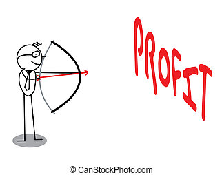 winst, archery doel, zakelijk