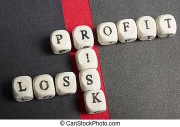 winst, blokjes, verantwoordelijkheid, verlies, bovenzijde, kruiswoordraadsel, tafel., aanzicht