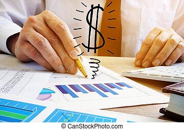 winst, concept., zakenman, analyseren, zakelijk, earning.