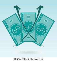 winst, koers, rekening, verwisselen, geld., rijzen, dollar, drie, diagram, growth., investering
