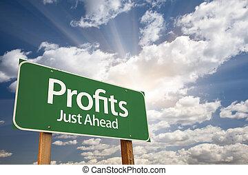 winsten, groene, wegaanduiding, op, wolken