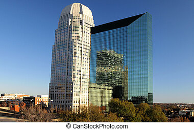 a view of winston salem north carolina with two of its buildings