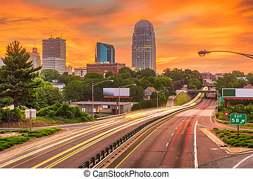 Winston-Salem, North Carolina, USA skyline at dusk