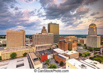 Winston-Salem, North Carolina, USA skyline from above
