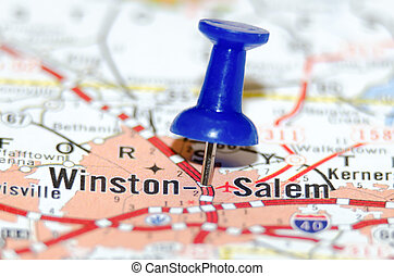 winston-salem, stad, spelden, kaart