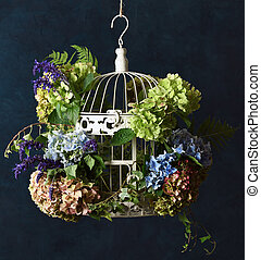 birdcage with floral decoration
