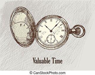 wintage, tekening, klok