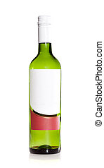 winte bottle with blank label isolated on a white background