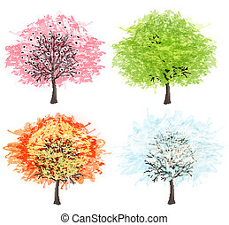 winter., όμορφος , τέχνη , illustration., άνοιξη , φθινόπωρο , - , δέντρο , τέσσερα , μικροβιοφορέας , εποχές , δικό σου , καλοκαίρι , design.