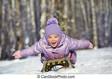 winter., ילד קטן, ילדה, בחוץ