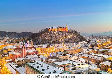 winter., パノラマ, europe., スロベニア, ljubljana