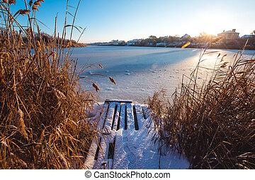winter., 冻结, 光, 湖, 早晨, 早