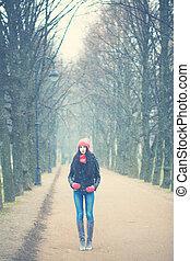 winter., 女, スペース, 若い, 背景, コピー
