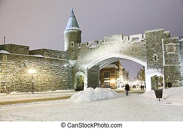 winter., 都市, 古い 都市, 夜現場, ケベック, landmark., canada., 要塞