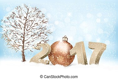Winter 2017 background with a bauble. Vector.