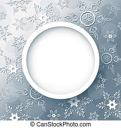 Winter abstract background grey with snowflakes