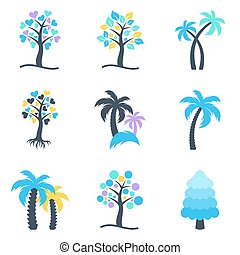 Winter abstract vector tree icons collection