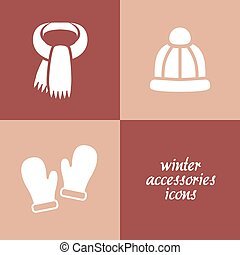 winter accessories icons