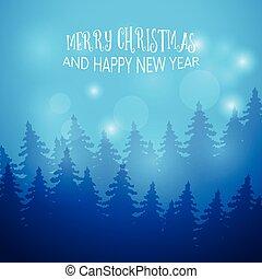 winter, achtergrond, met, spar, forest., begroetende kaart, template., jaarwisseling, en, kerstmis, feestdagen, design., vector, illustration.