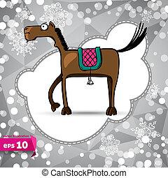 winter., achtergrond., symbool, spotprent, vector, 2014., horse.
