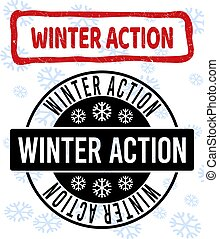 Winter Action Grunge and Clean Stamp Seals for New Year