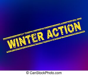 WINTER ACTION Scratched Stamp Seal on Gradient Background