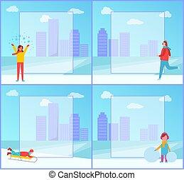 Winter Activities in City Park Set of Posters