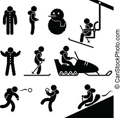Winter Activity Chairlift Skiing - A set of pictogram about...