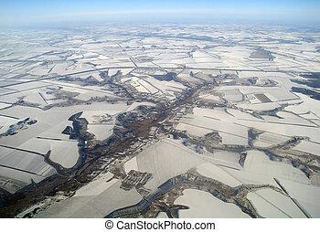 Winter aerial view, Ukraine.