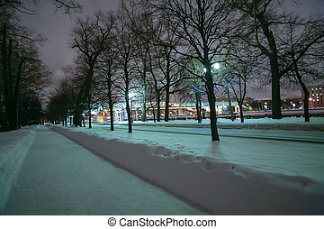 Winter alley along the Moscow river