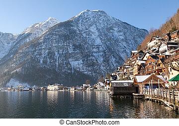 Winter Alpine Hallstatt Town and lake Hallstatter