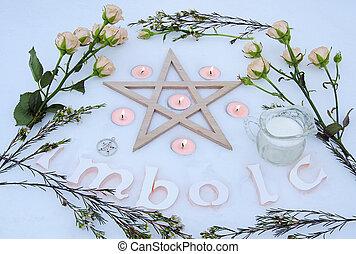 Winter altar for Imbolc sabbath