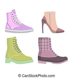 Winter and Autmn Female Shoes Set of Illustrations