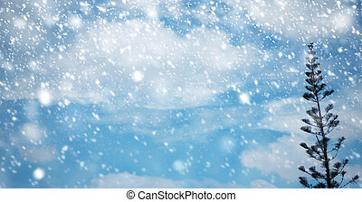 Winter and Christmas background design of fir tree and snow falling
