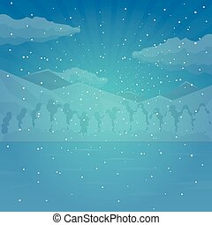 Winter and Christmas background. Snow. Vector illustration.