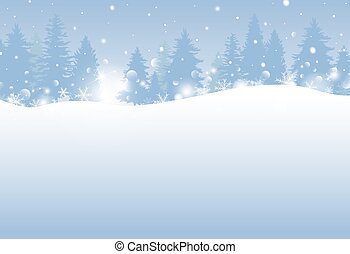 Winter and Christmas design 0f pine tree with snowfall vector illustration